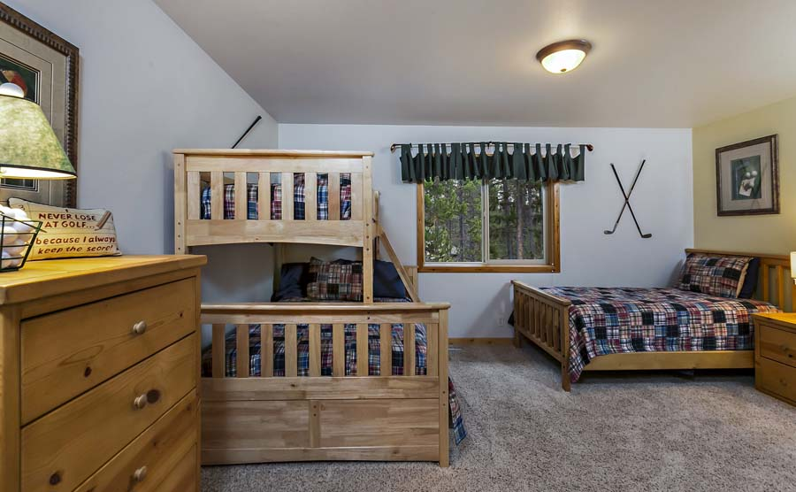 Bunkroom is great for the kids with shared full bathroom upstairs.